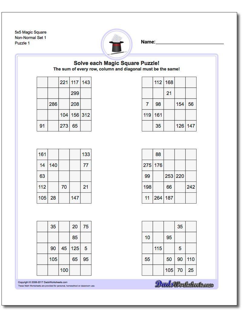 5X5 Magic Square Puzzles | Magic Squares, Free Printable