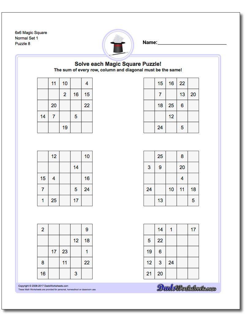 6X6 Magic Square Normal Set 1 Worksheet #magic #square