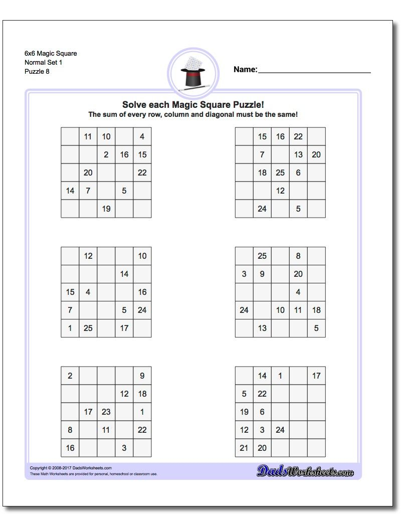6X6 Magic Square Normal Set 1 Worksheet #magic #square