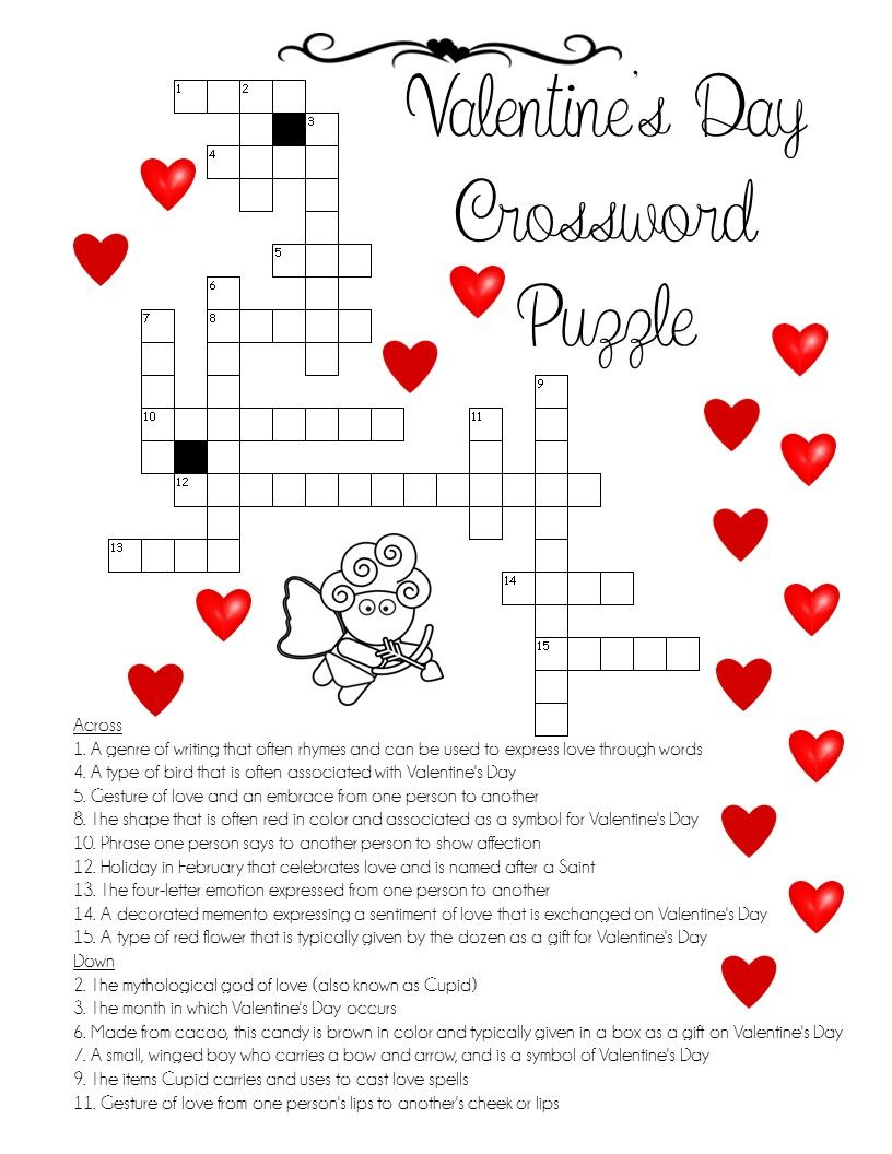 "A ""love"" For Words! Valentine's Day Crossword Puzzle"