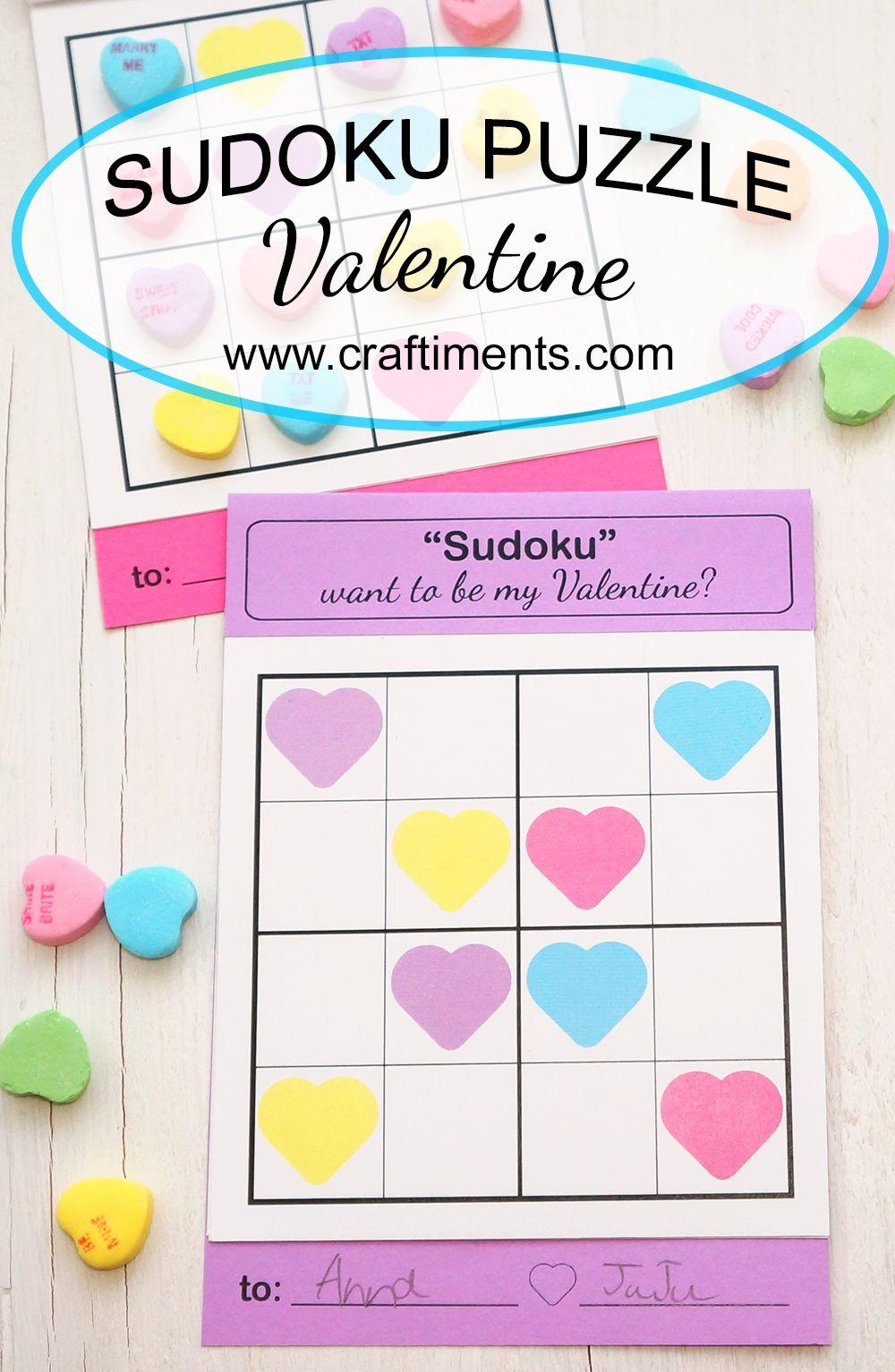 A Unique Sudoku Puzzle Valentine For Kids. Includes