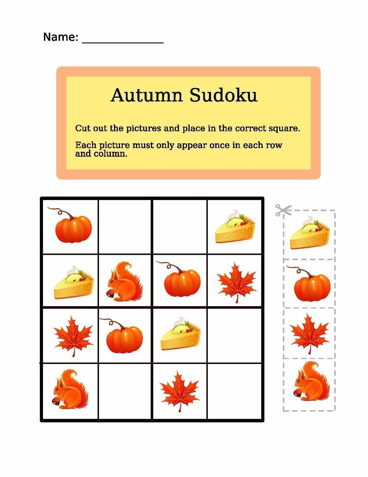Autumn Sudoku Puzzle | Free Printable Puzzle Games