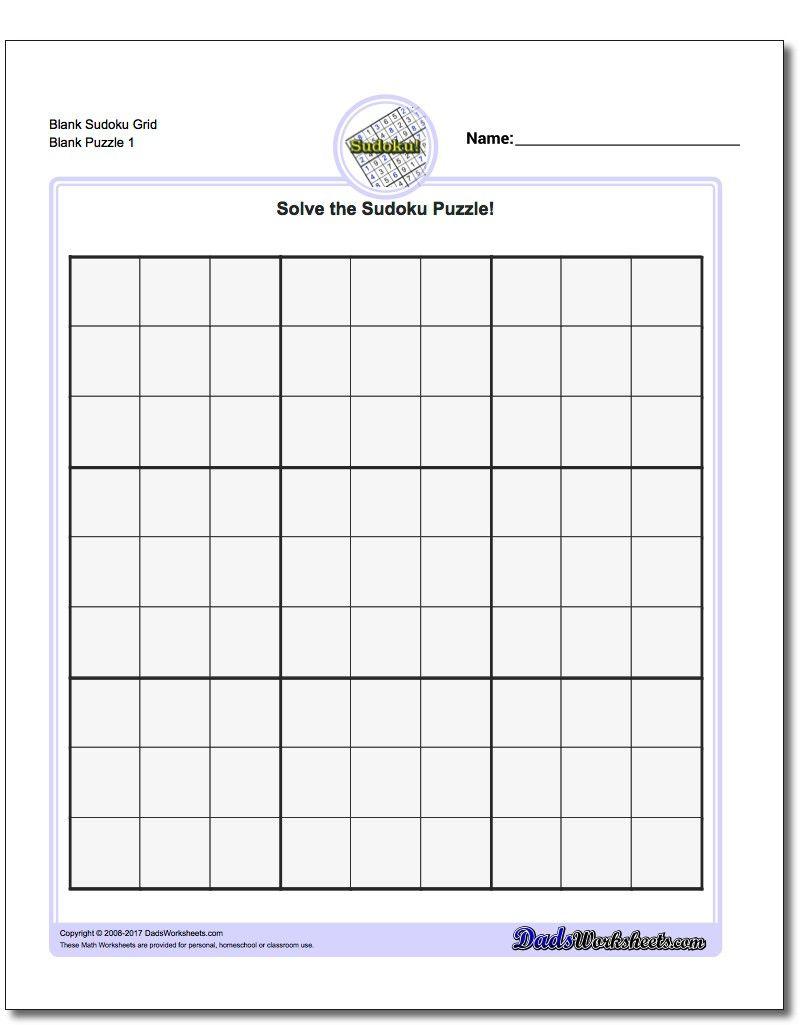 Blank Sudoku Grid | Sudoku Puzzles, Math Worksheets, Free
