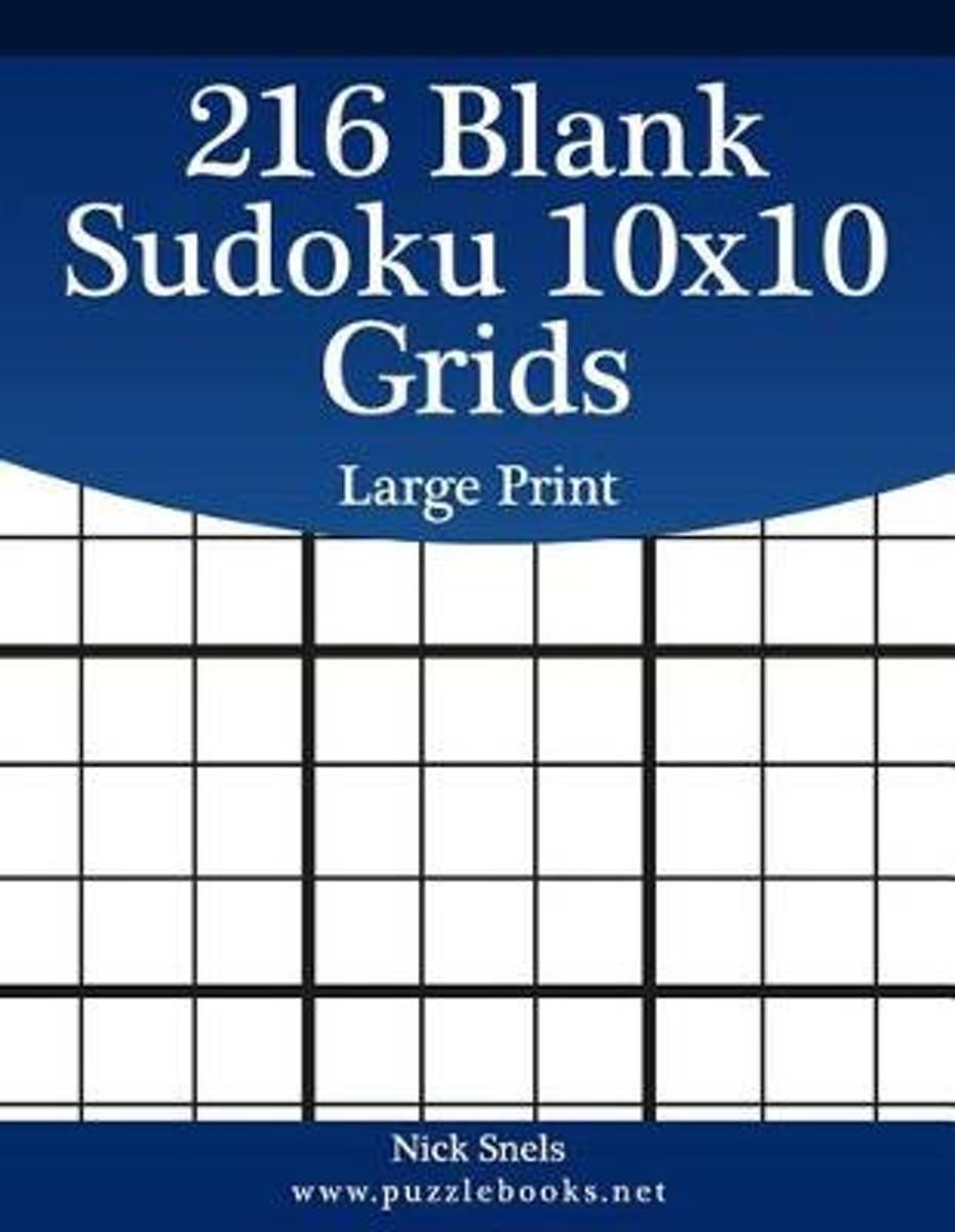 Bol | 216 Blank Sudoku 10X10 Grids Large Print, Nick