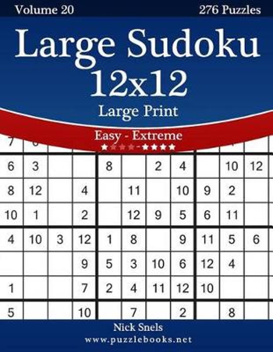 Bol   Large Sudoku 12X12 Large Print - Easy To Extreme
