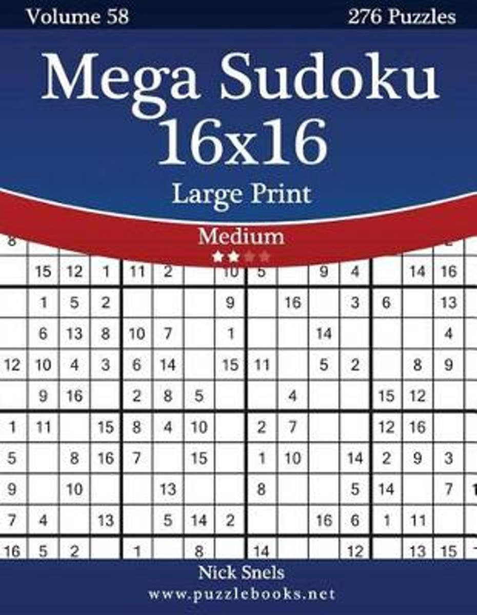Bol | Mega Sudoku 16X16 Large Print - Medium - Volume 58