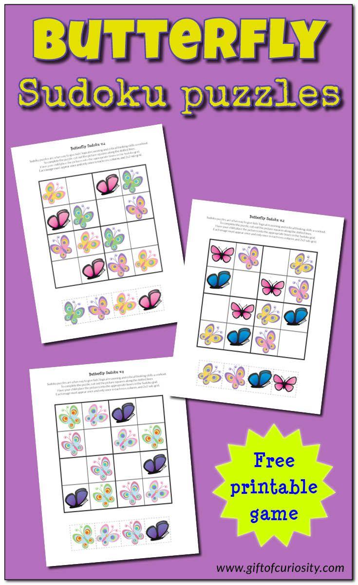 Butterfly Sudoku Puzzles {Free Printables} | Juegos Y