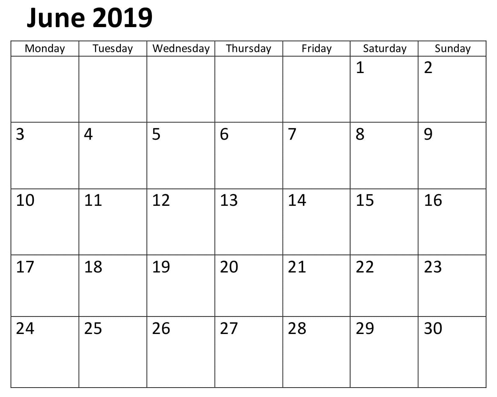 Calendar June 2019 Template Word | Calendar Template