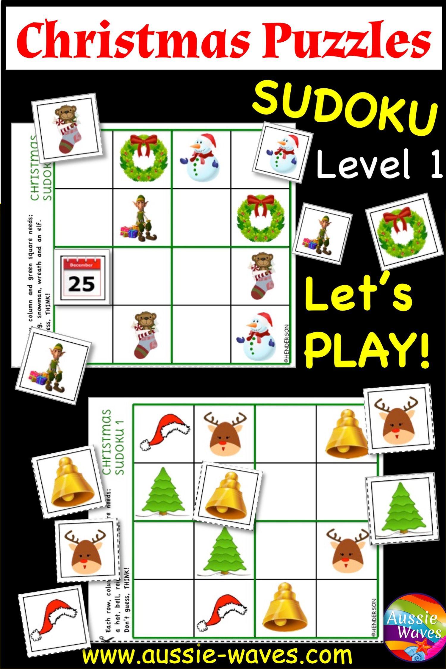 Christmas Puzzles Sudoku Easy Level | Christmas Printable