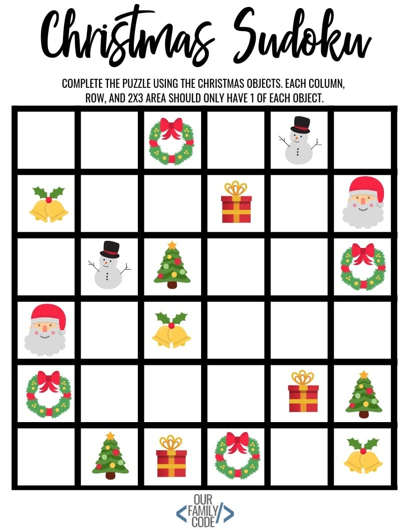 Christmas Sudoku Logical Reasoning Activity For Kids