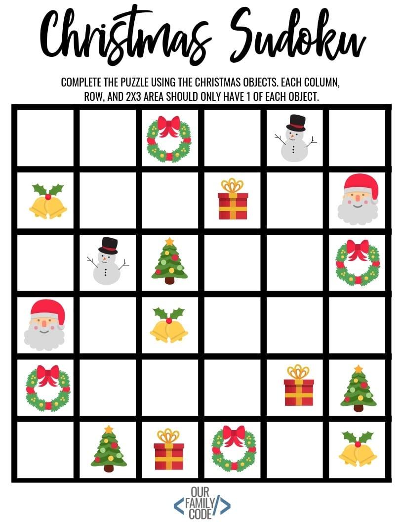 Christmas Sudoku Logical Reasoning Activity For Kids