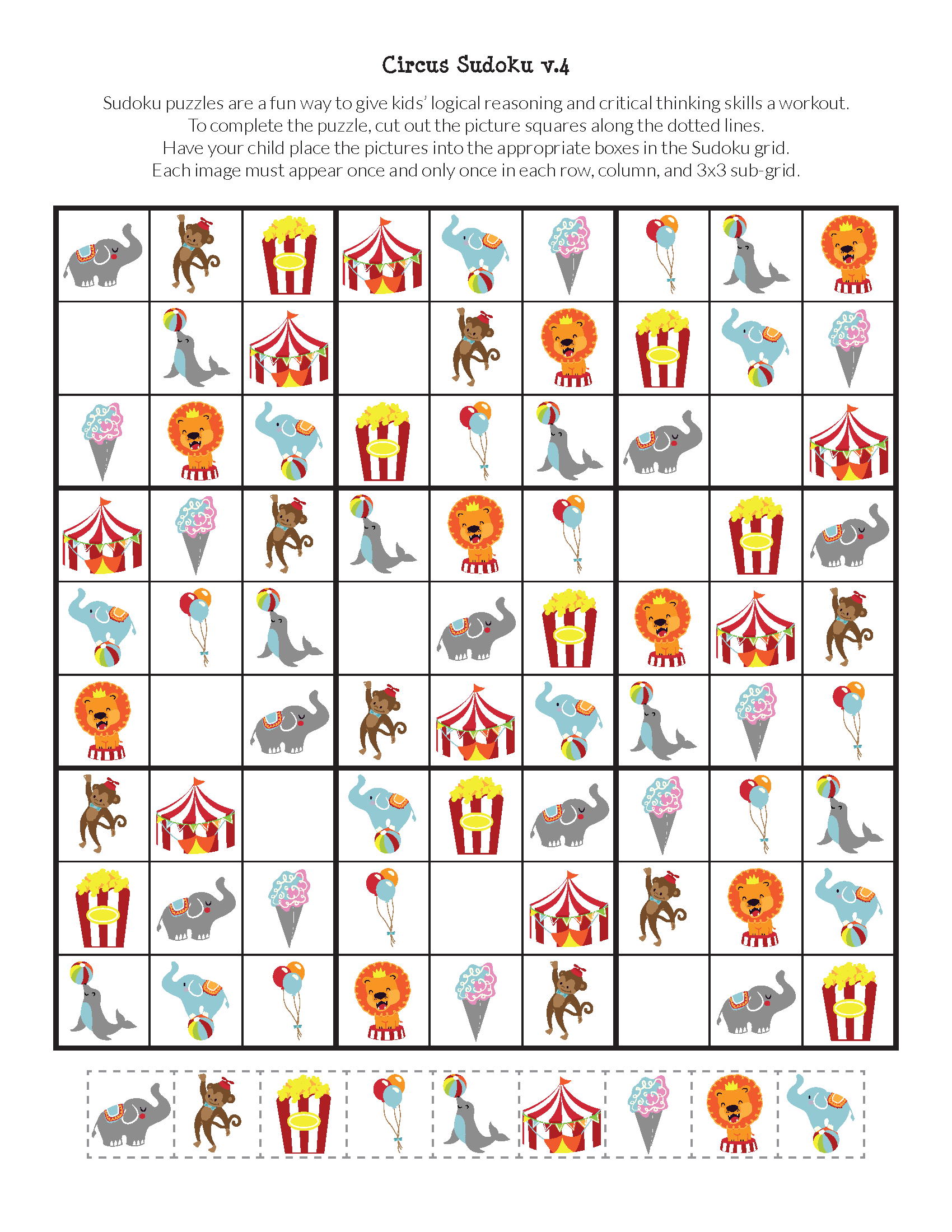 Circus Sudoku {Free Printables} | Oktatás - Kleuterklas