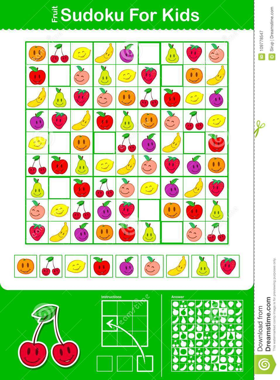 Colorful Kids Sudoku Puzzle Grid With Nine Fruit Stock