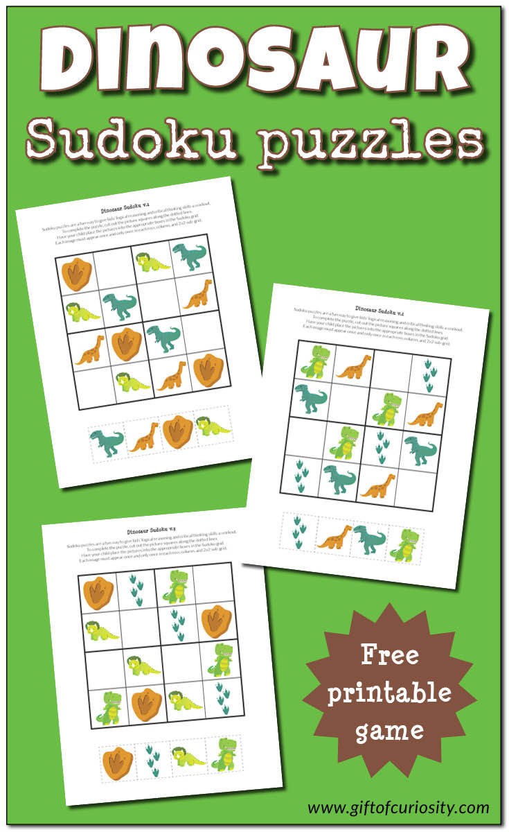 Dinosaur Sudoku Puzzles {Free Printables} - Gift Of Curiosity