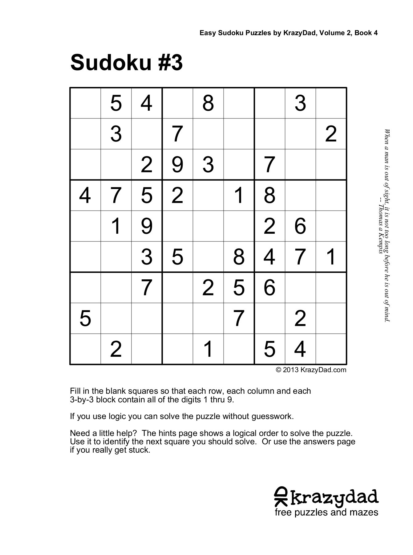 Easy Sudoku Puzzleskrazydad, Volume 2, Book 4 Pages 1
