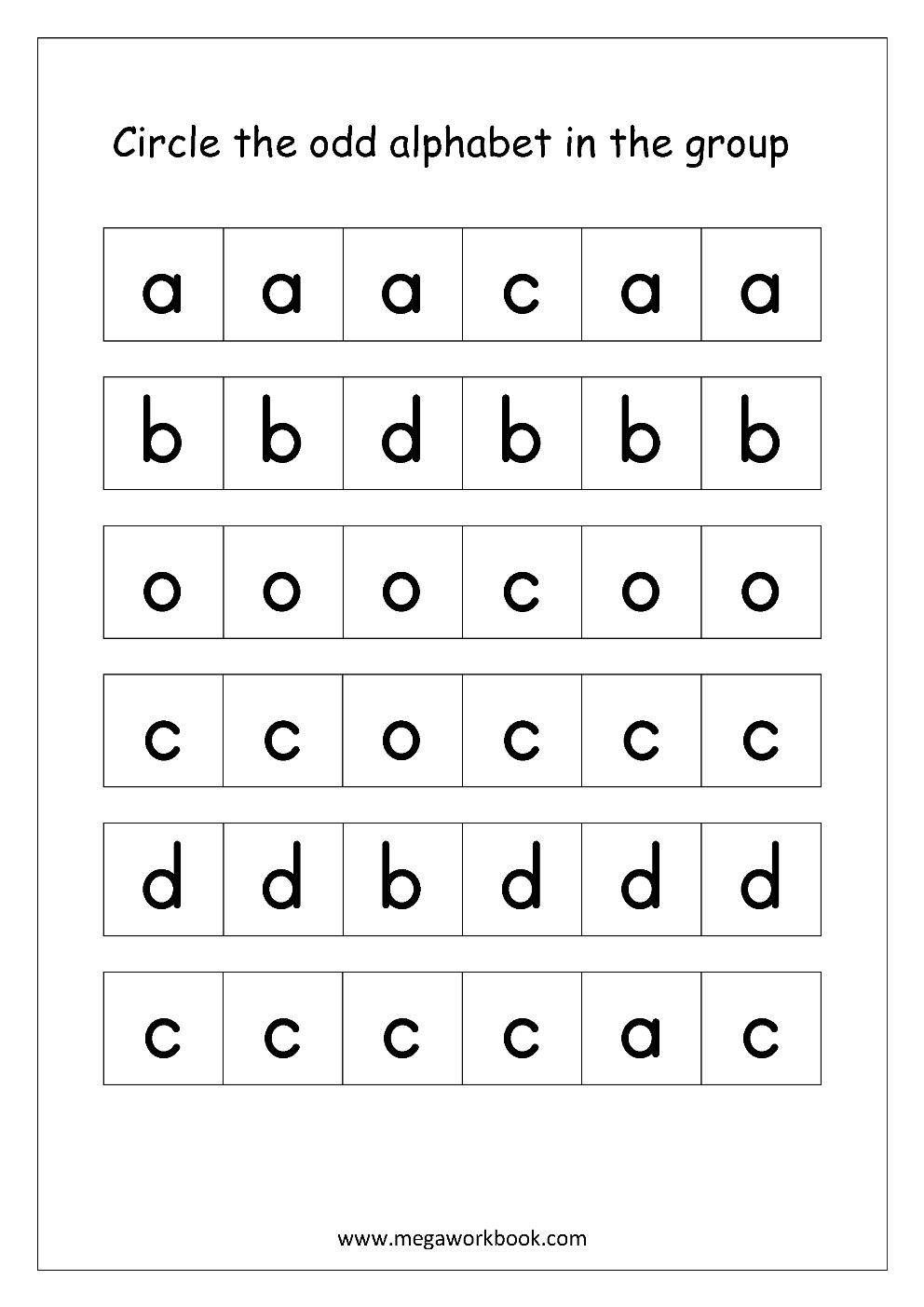 English Worksheets - Confusing Alphabets | English