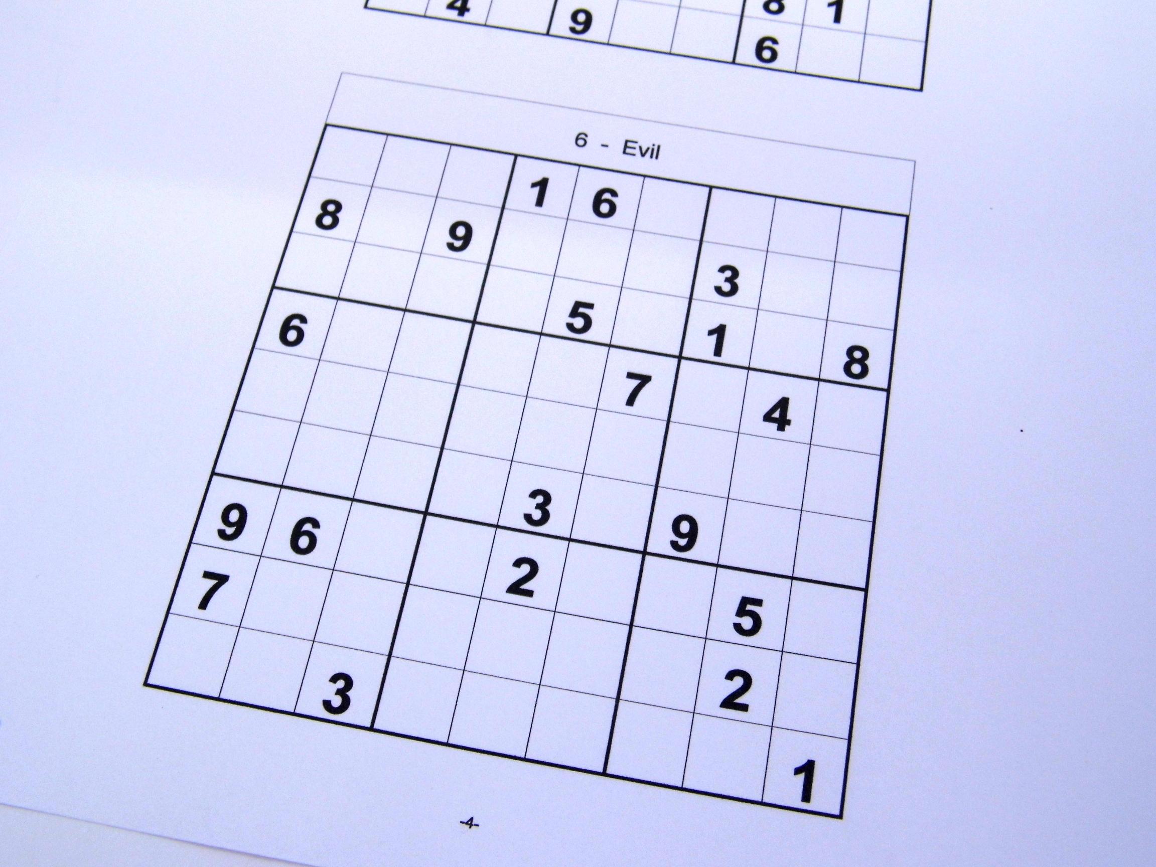 Evil Printable Sudoku Puzzles 6 Per Page – Book 12 – Free