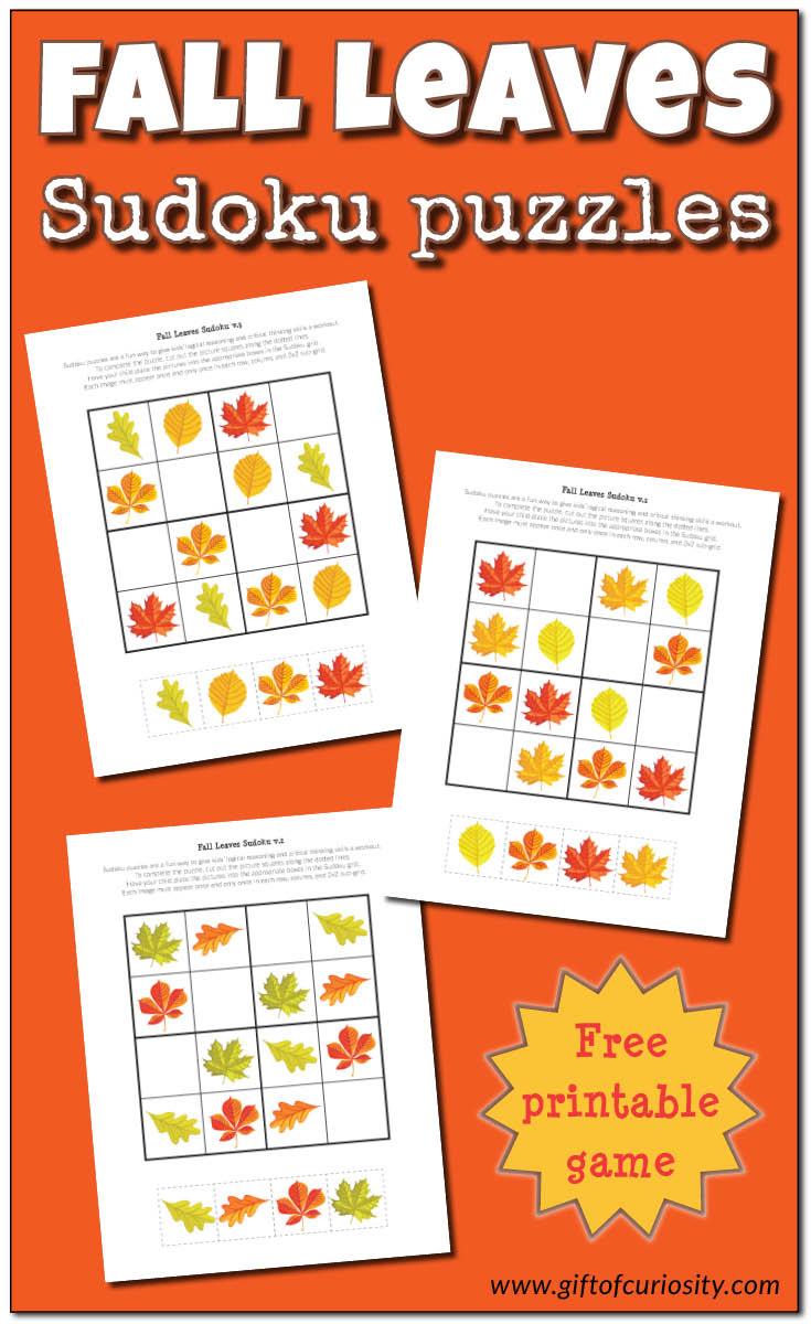 Fall Leaves Sudoku {Free Printable} - Gift Of Curiosity