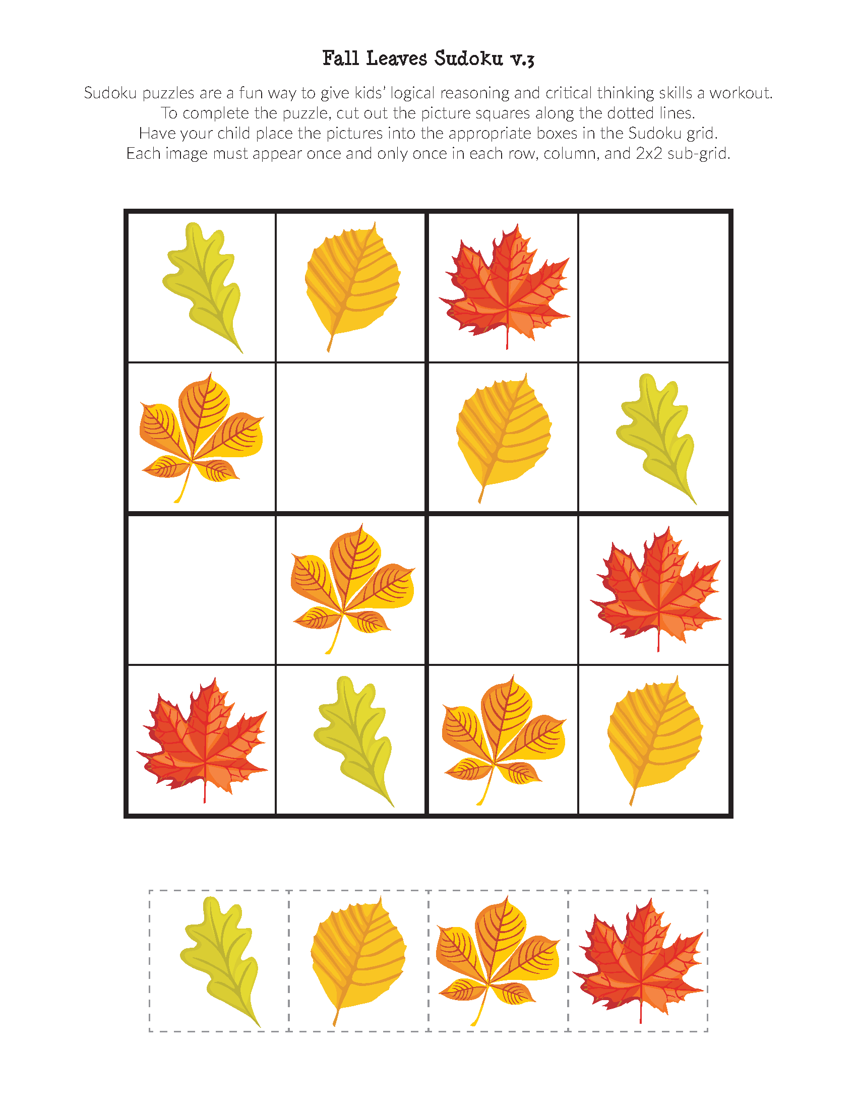 Fall Leaves Sudoku Puzzles - Gift Of Curiosity