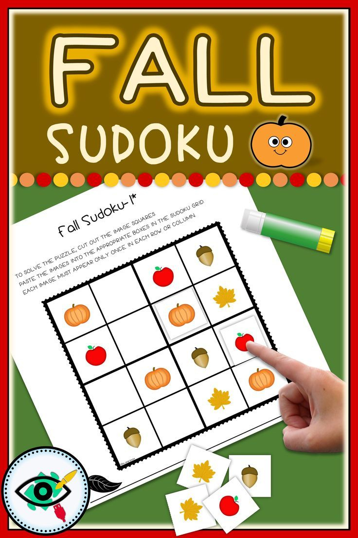Fall Sudoku Games Printable | First Grade Games, Autumn