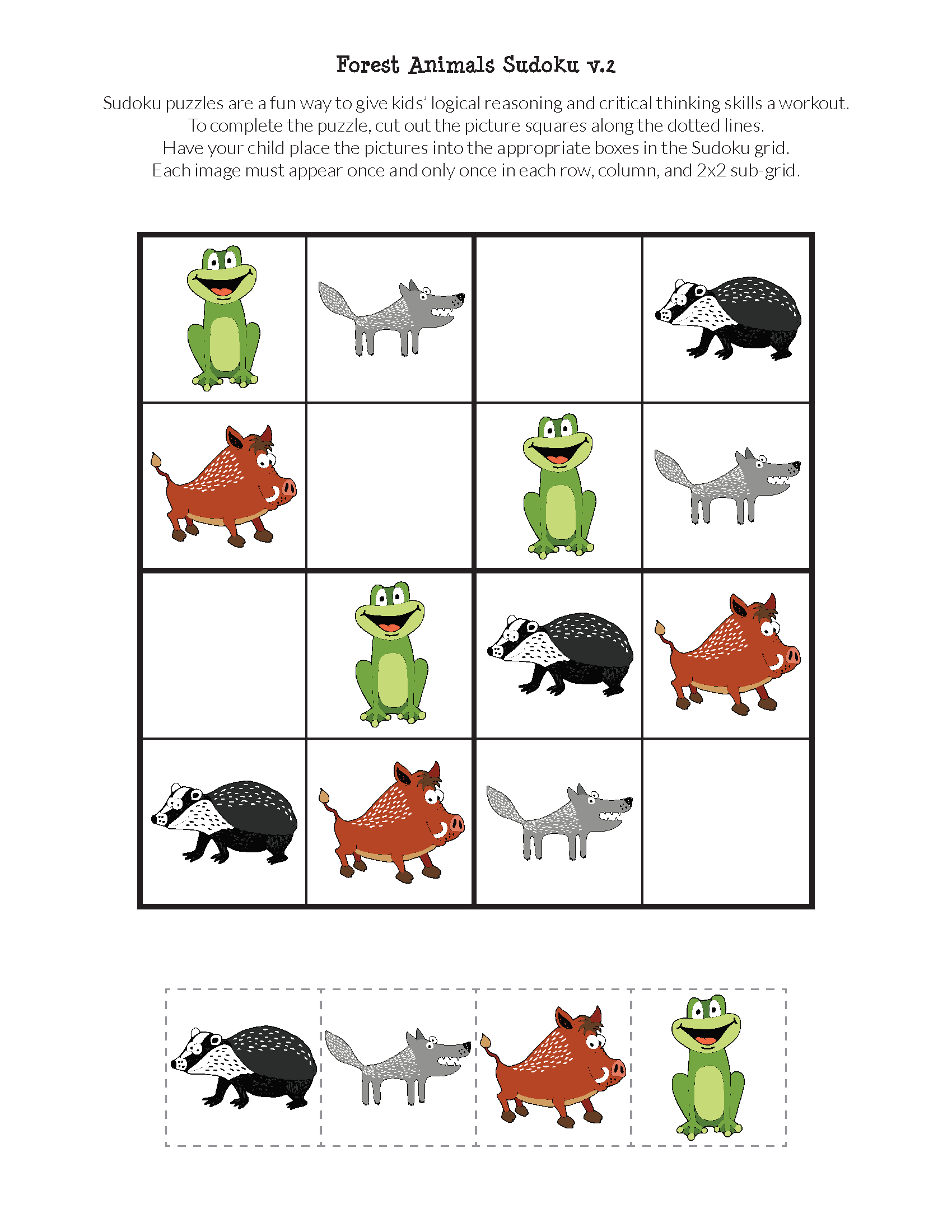 Forest Animals Sudoku {Free Printables} - Gift Of Curiosity