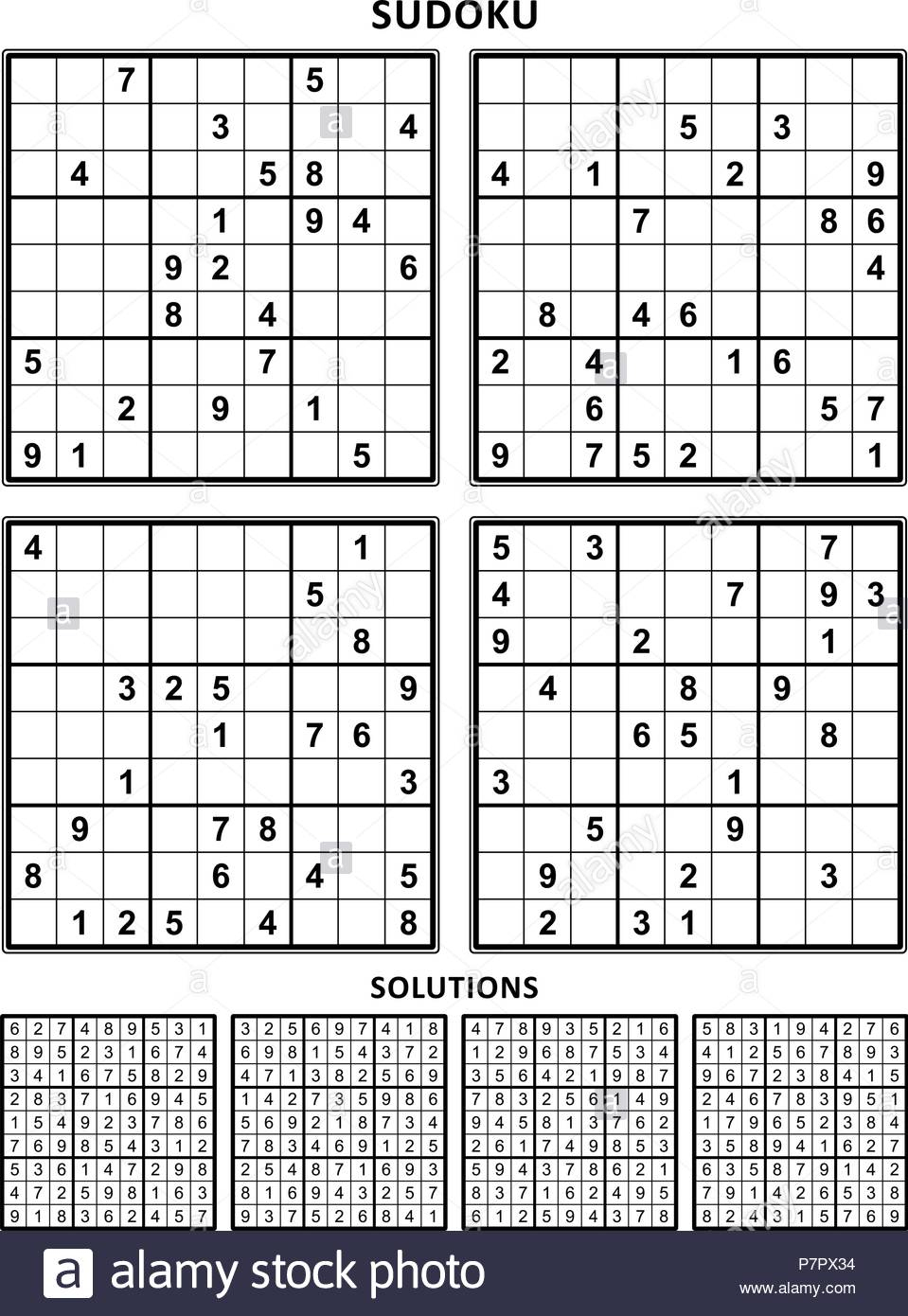Four Sudoku Puzzles Of Comfortable Level, On A4 Or Letter