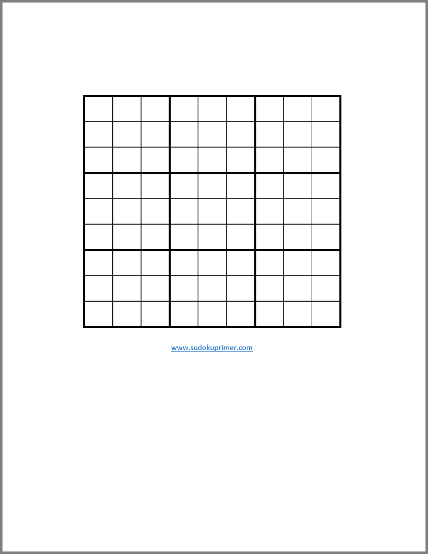 Free Blank Sudoku Grids