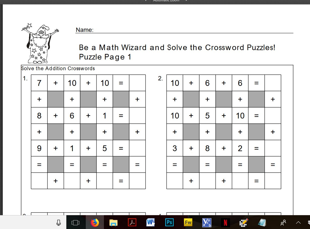 Free Downloadable Addition Crossword Puzzles To Engage