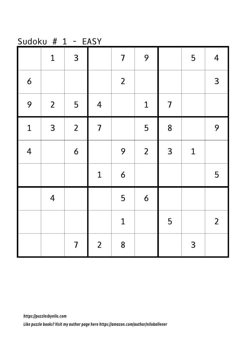 Free Downloadable Sudoku Puzzle Easy #1 | Sudoku Puzzles