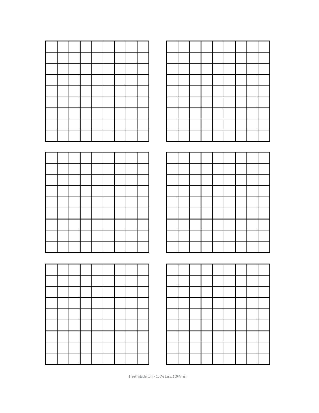 Free Printable Blank Sudoku Grids | Sudoku Printable, Grid