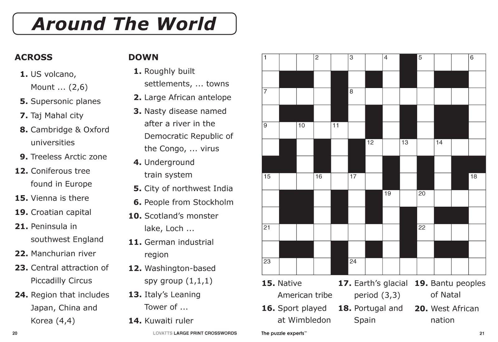 Free Printable Crossword Puzzles | Free Printable Crossword