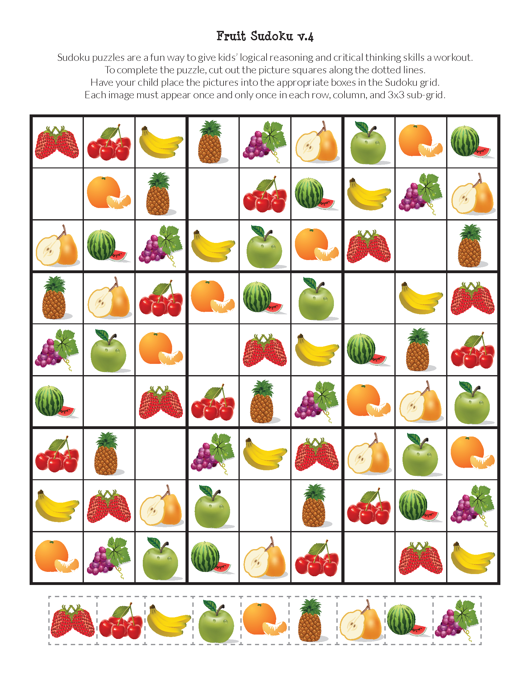 Fruit Sudoku Puzzles {Free Printables} | Sudoku Puzzles