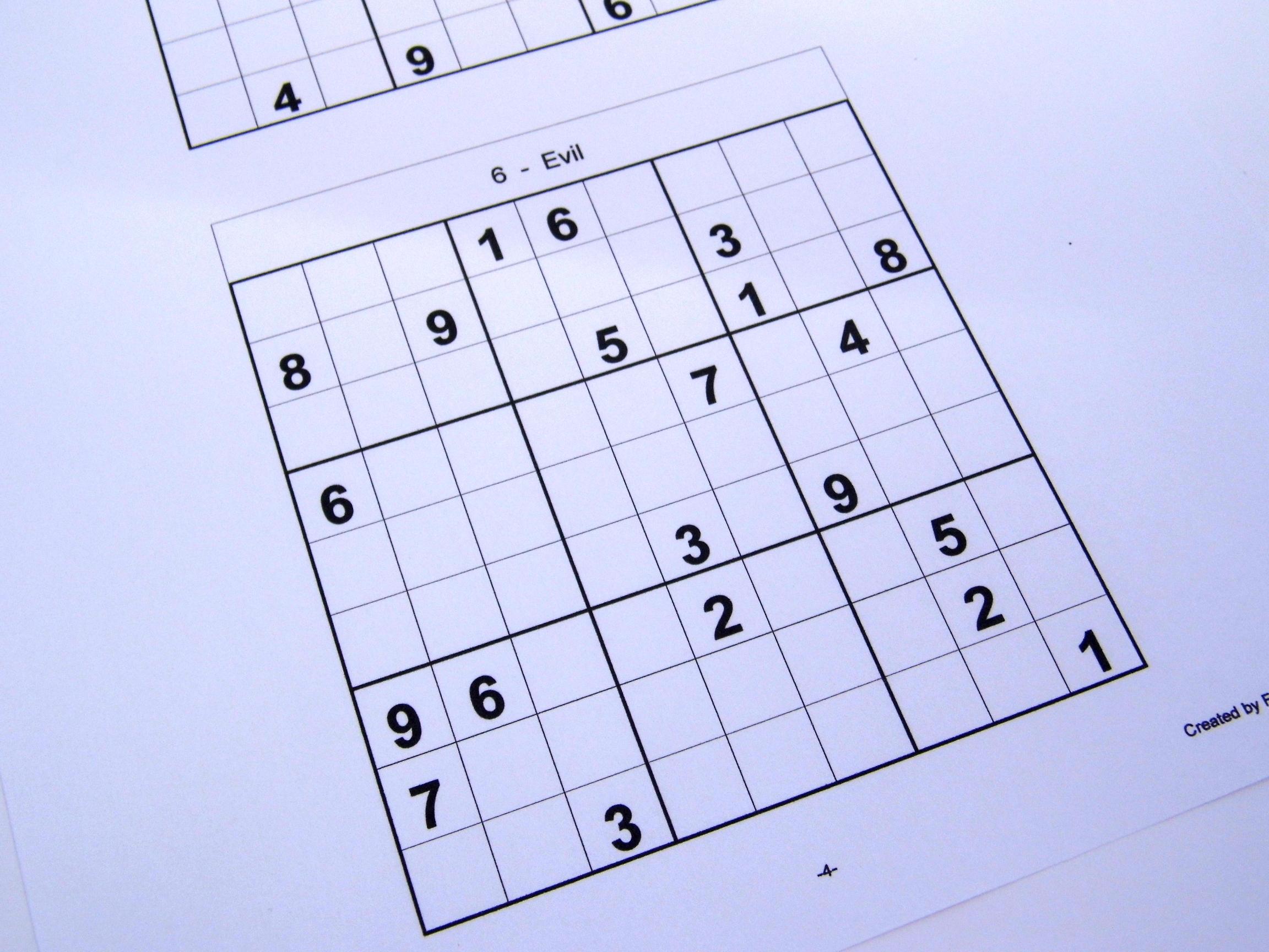 Hard Printable Sudoku Puzzles 6 Per Page – Book 1 – Free
