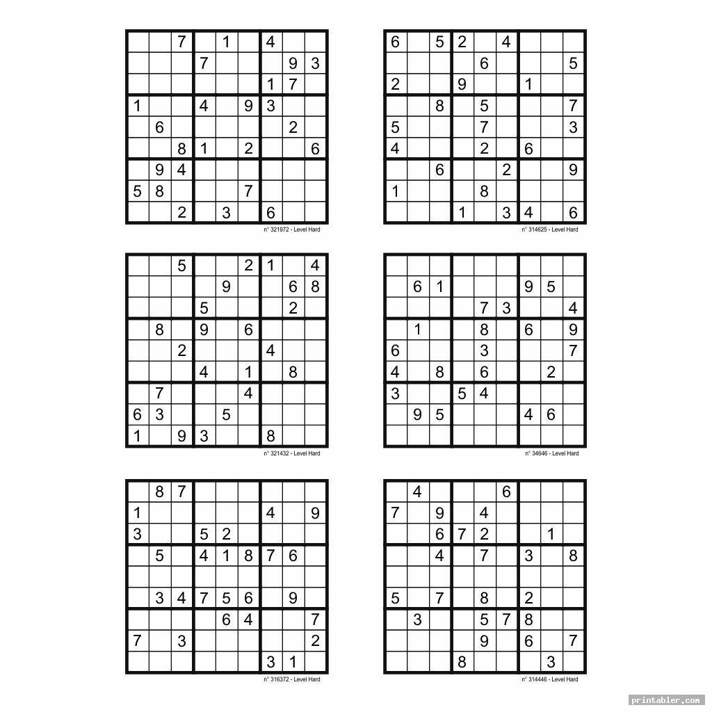 Hard Sudoku Printable 6 Per Page - Printabler
