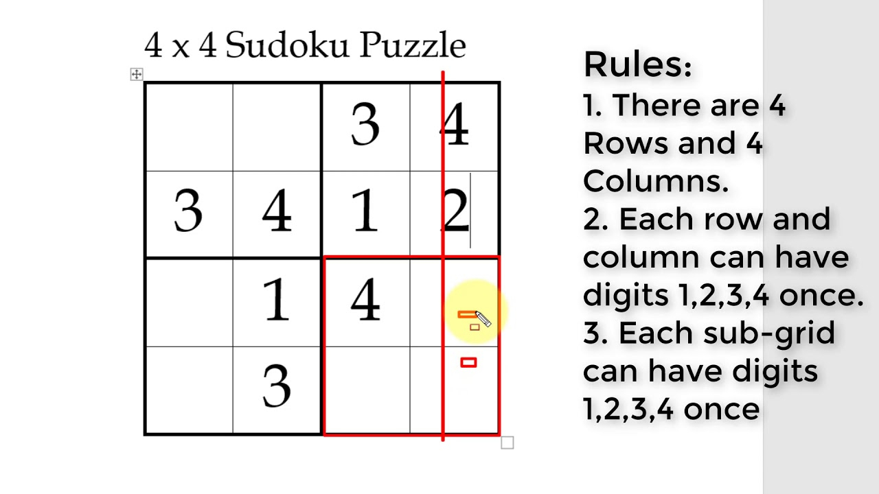 How To Solve 4X4 Sudoku Puzzle For Kids Online - Pdf And Printable Also  Available