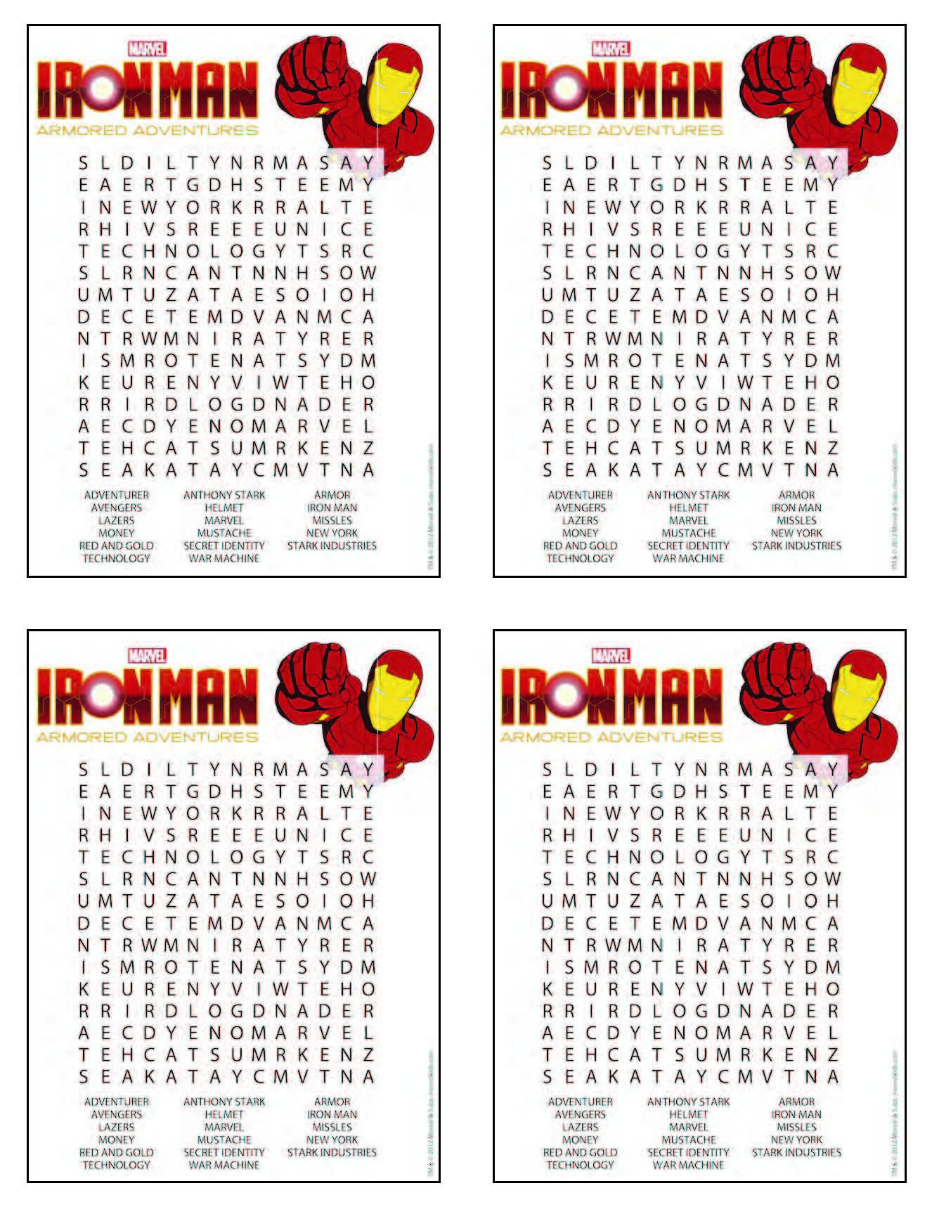 Iron Man Word Search (From Free Printable) - Small Size For