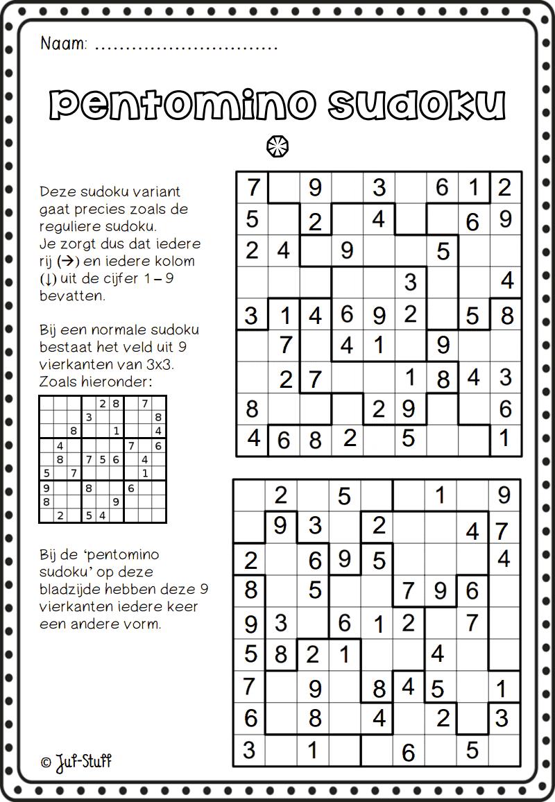 Juf-Stuff Pentomino Sudoku 1.pdf | Wiskunde, Breinbrekers