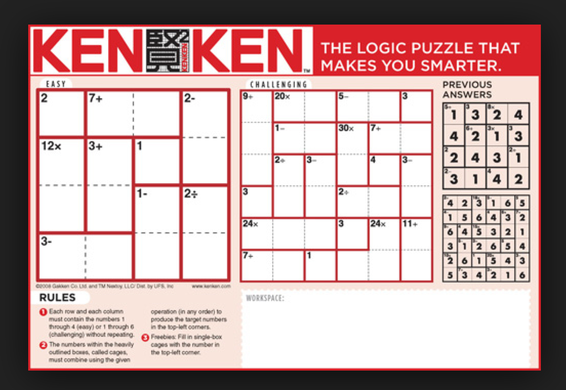 Ken Ken Puzzles For Math Enrichment/anchor Activity