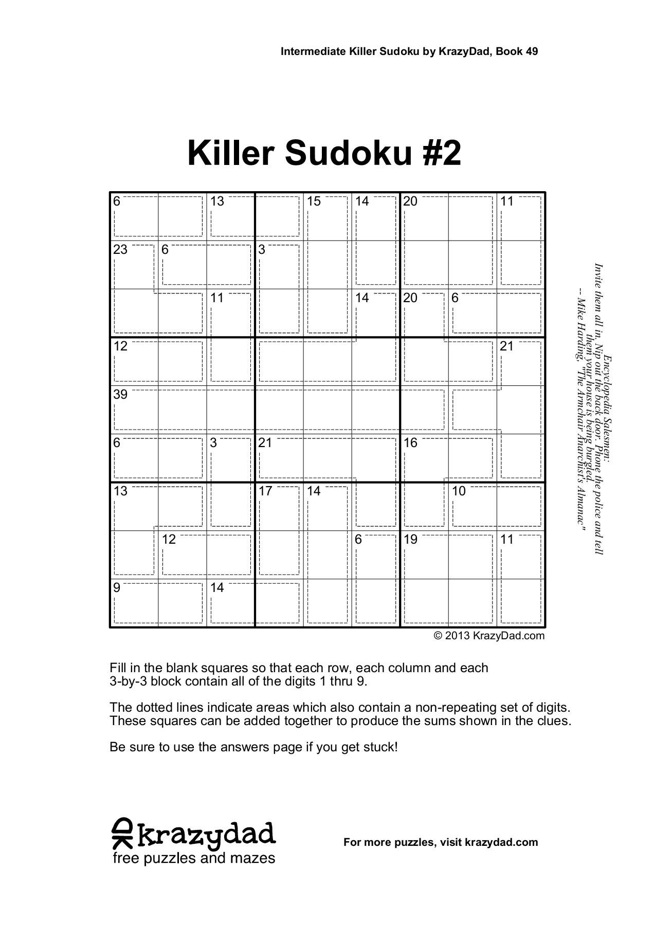 Killer Sudoku #1 - Krazydad Pages 1 - 10 - Text Version