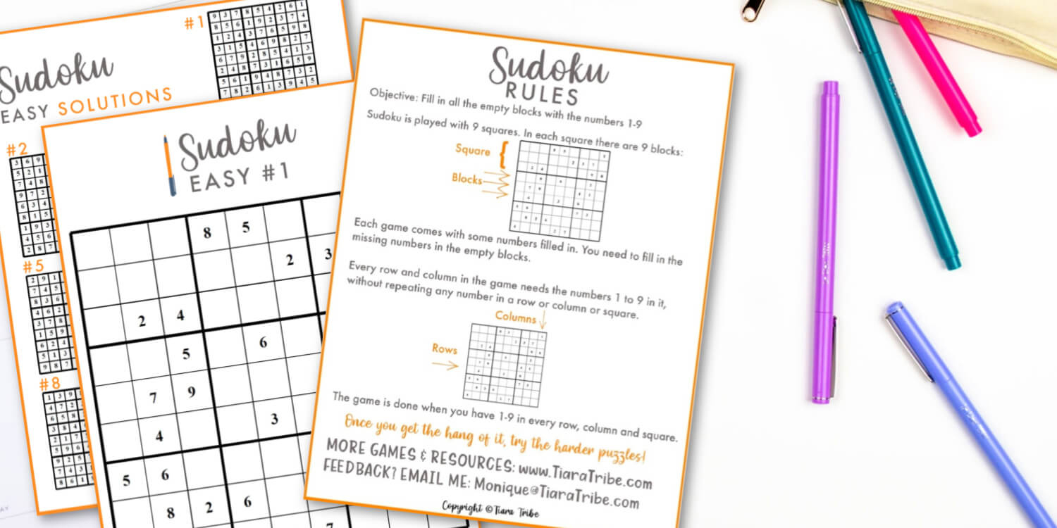 Large, Easy Sudoku Puzzles To Solve | Print & Play Today