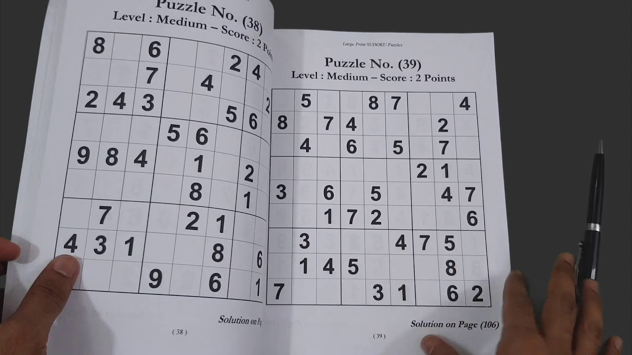 Large Print Sudoku Puzzles Book: 100+ Easy To Hard Puzzles