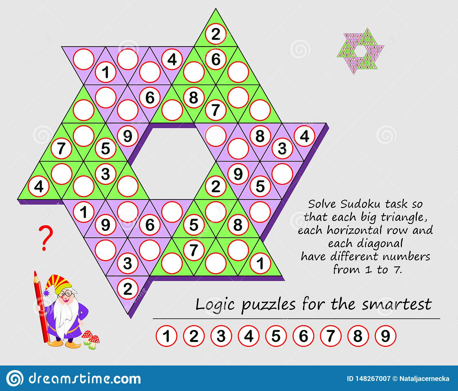 Logic Puzzle Game For Children And Adults. Solve Sudoku