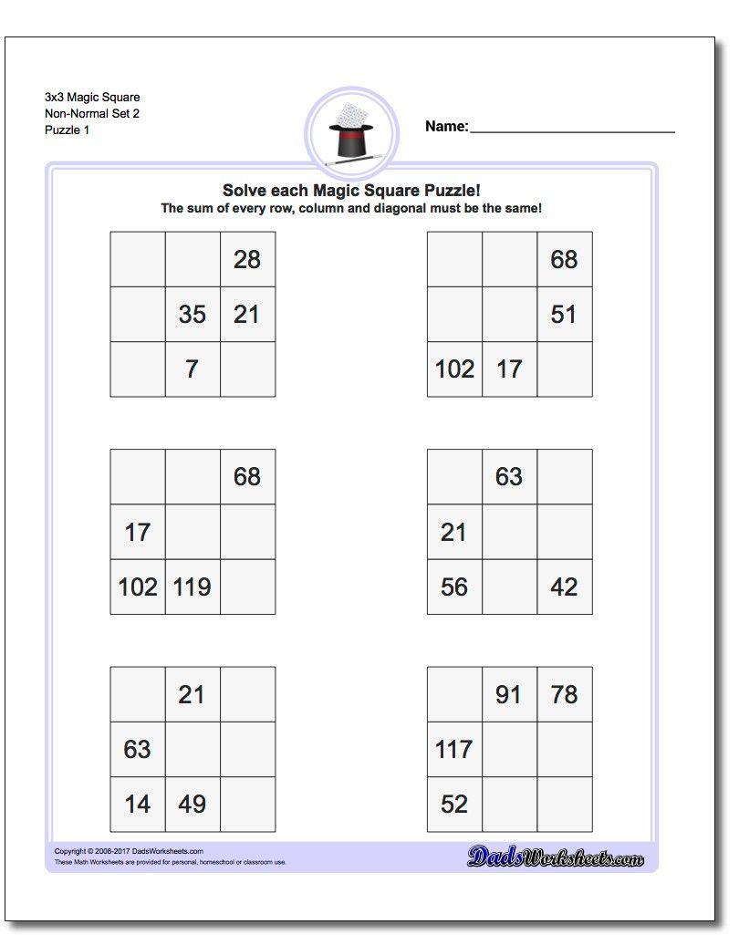 Magic Square Puzzle 3X3 Non-Normal Set 2! Magic Square
