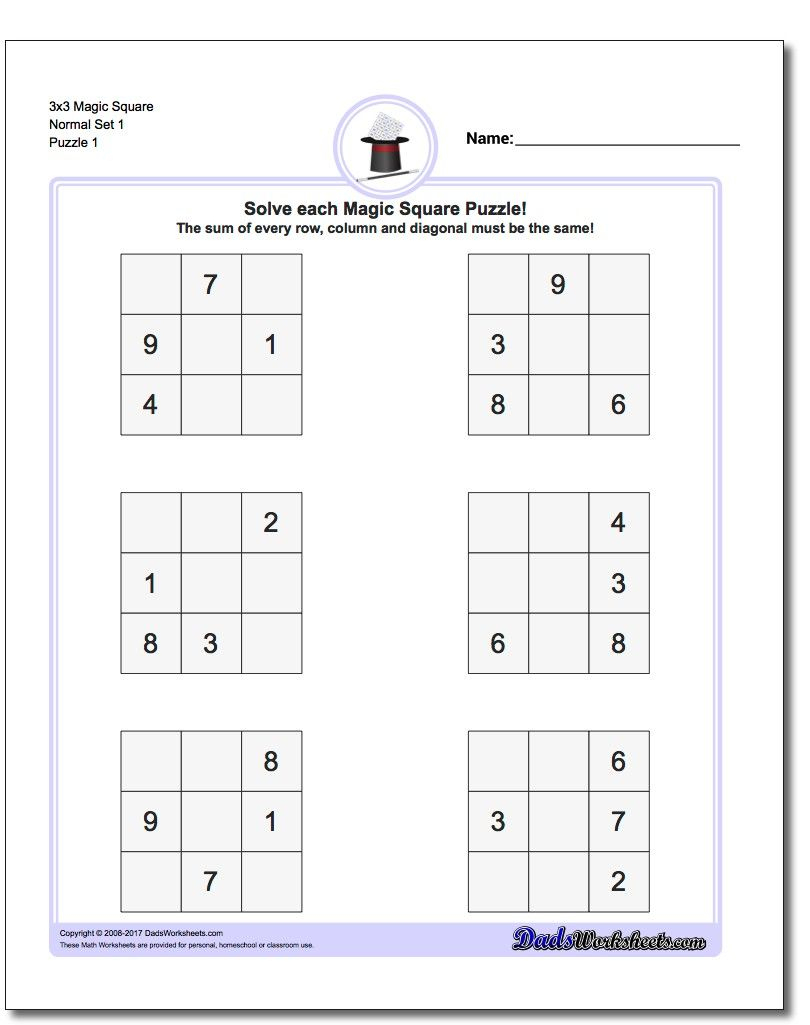 Magic Square Puzzles This Page Has 3X3, 4X4 And 5X5 Magic