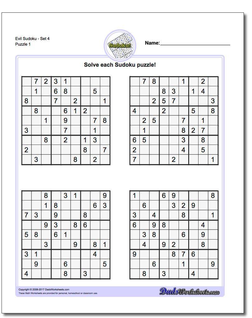Printable Evil Sudoku Puzzles | Sudoku, Sudoku Printable