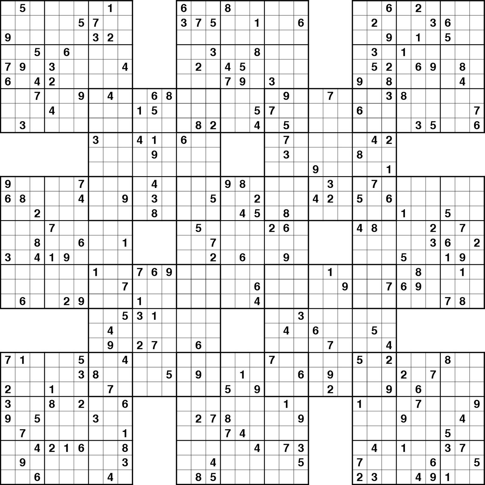 Printable Sudoku: A Triple Samurai And Two Other Difficult