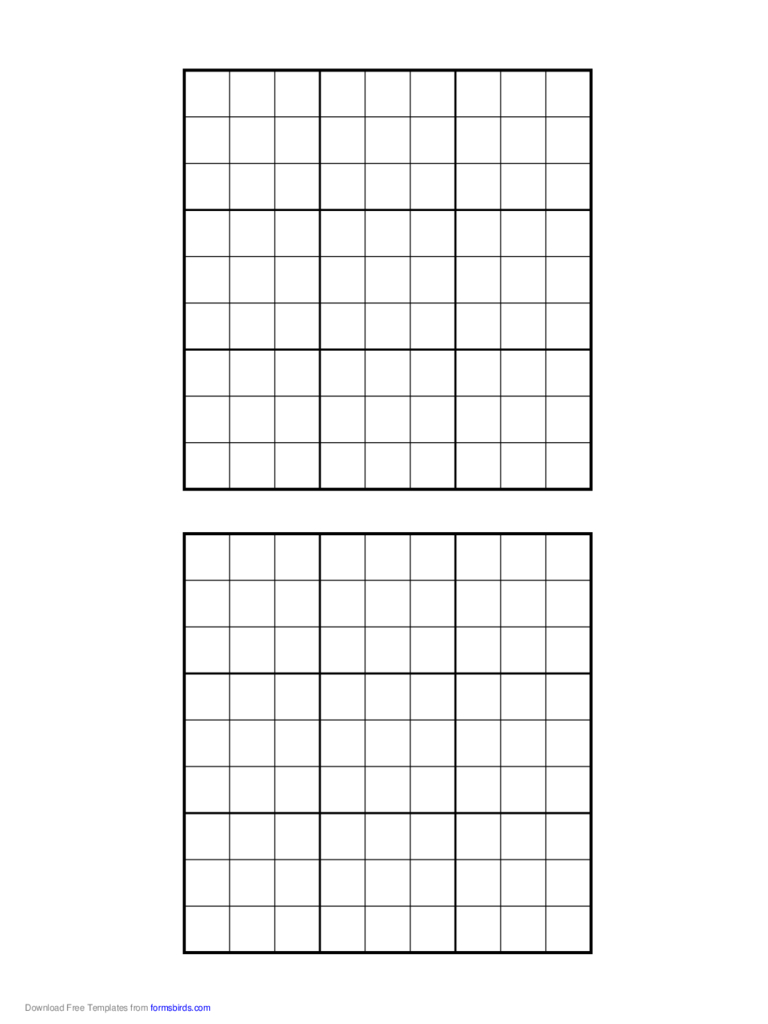 Printable Sudoku Grids - 2 Free Templates In Pdf, Word