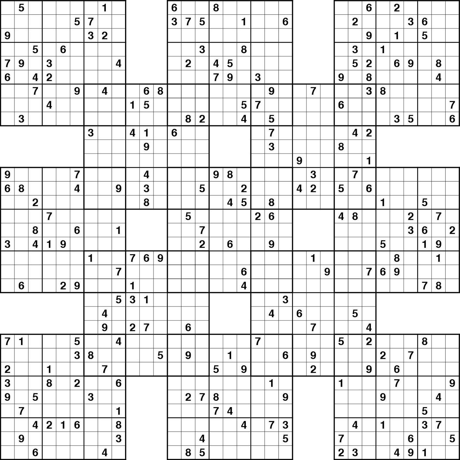 Printable Sudoku: Massive Samurai Sudoku Puzzle