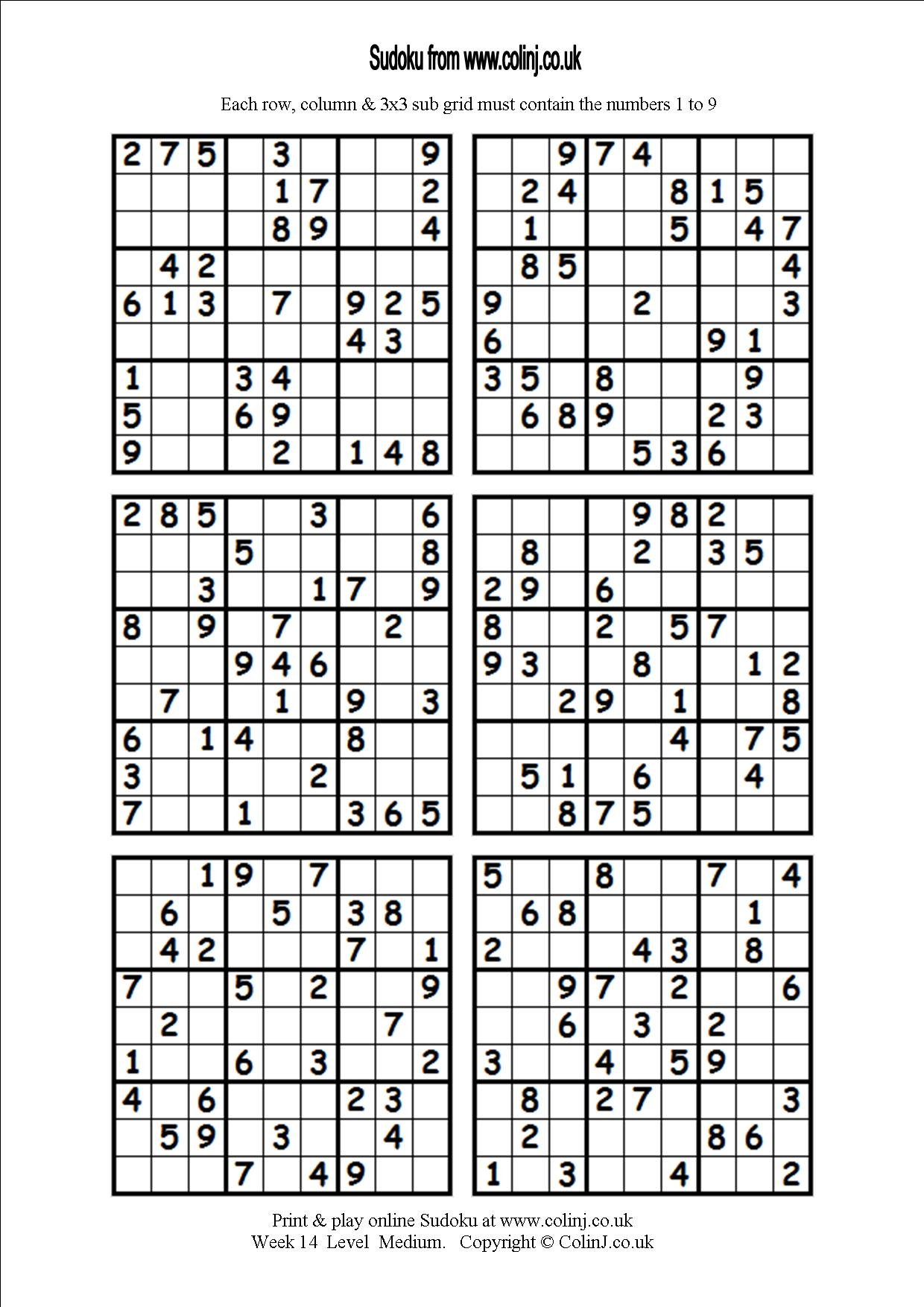 Printable Sudoku Puzzles 4 Per Page That Are Massif | Alma