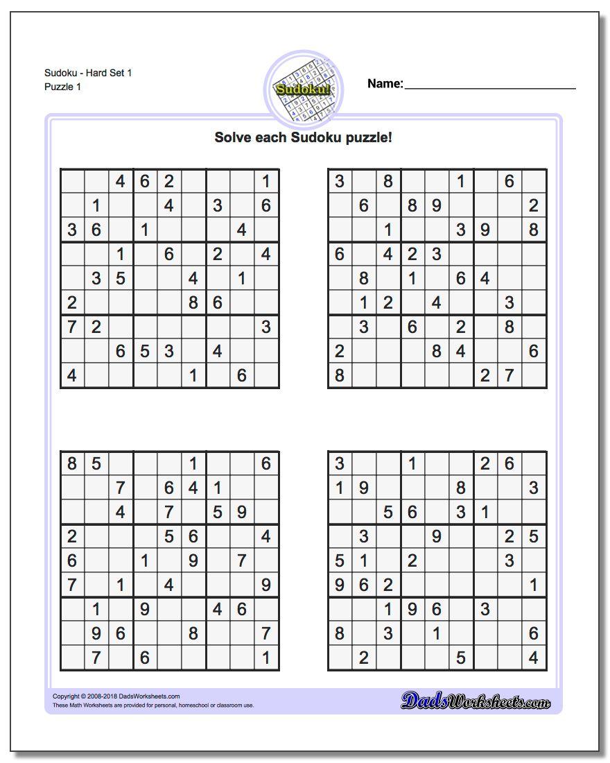 Printable Sudoku Puzzles | Room Surf